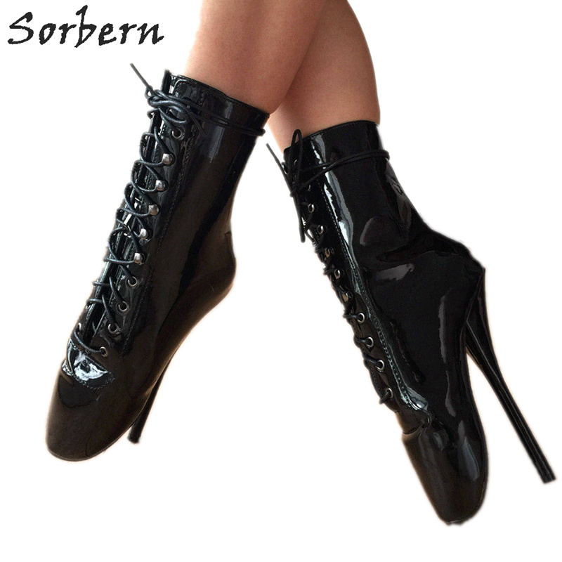 Sorbern Stiletto Pointe Black Shiny Ballet Heels 18Cm Short Boots For Women Sexy Fetish High Heel Enamel Kinky Ballet Boot Women накладки на педали honda 2015