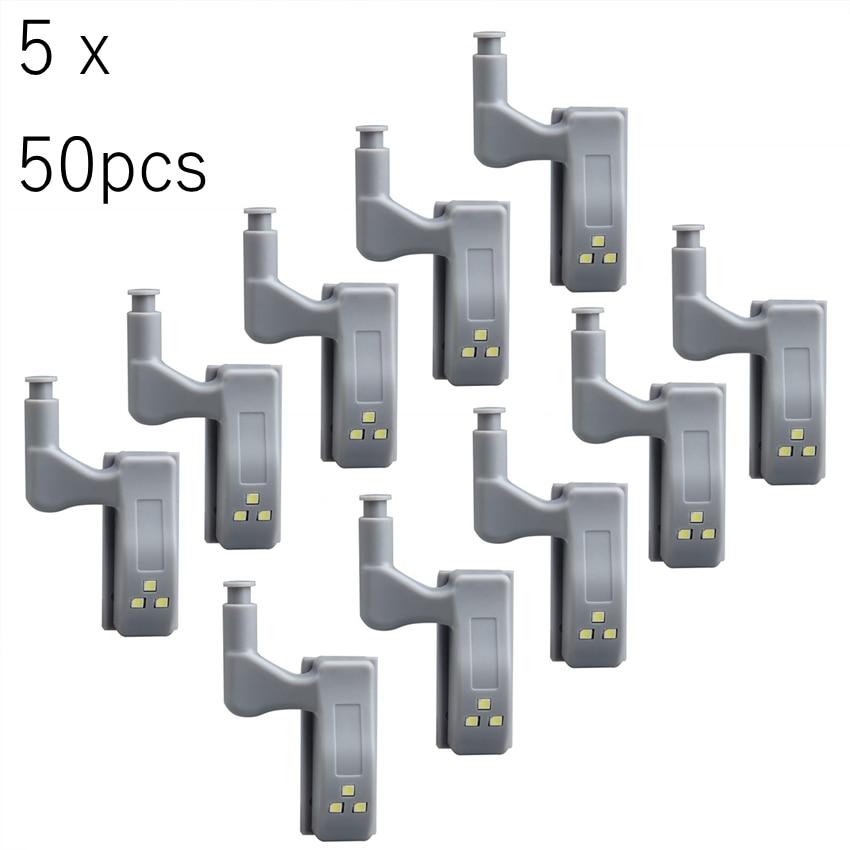 50pcs Universal LED Under Cabinet Light Cupboard Inner Hinge Lamp Closet Wardrobe Sensor Light Home Kitchen Night Light