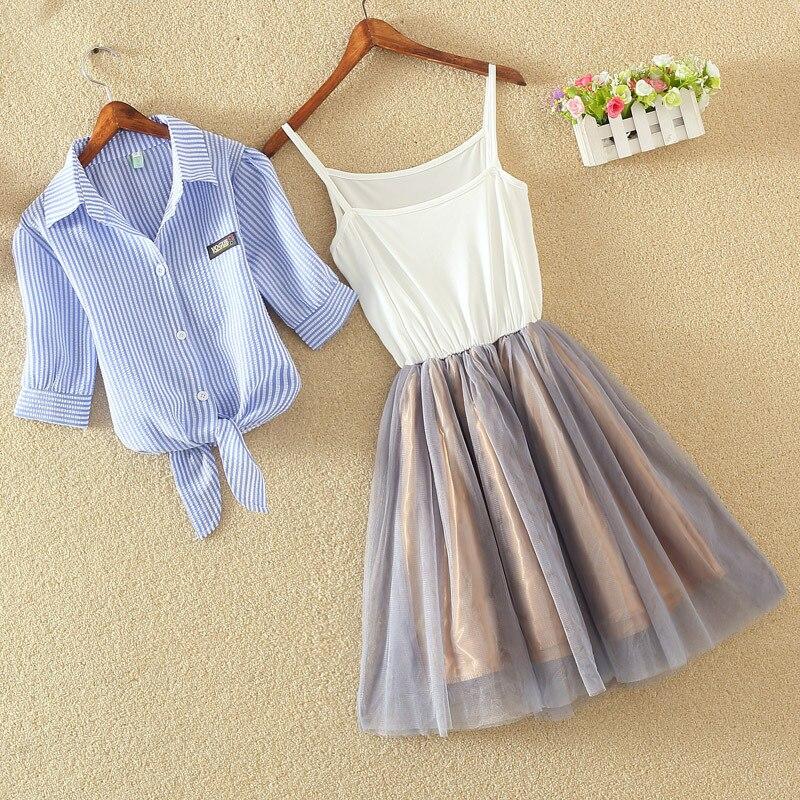 2 Pcs/Set Princess Midi Tulle Dress Women Lolita Bule White T-Shirt Spaghetti Strap Voile Dresses Casual Elegant Party Vestidos 3