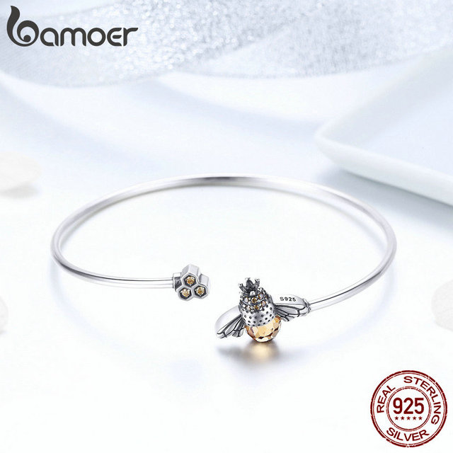BAMOER 925 Sterling Silver Crystal Bee And Honeycomb  2