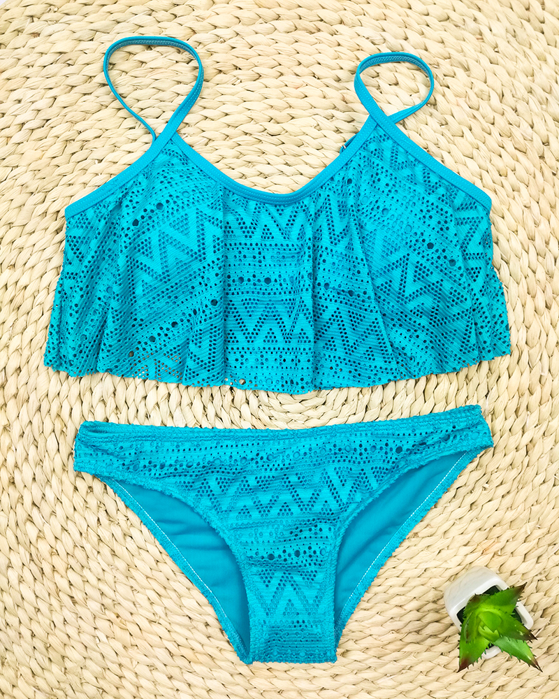 Push Up New 2018 Simple Solid Color Bikini Set Sexy Low Waist Beach Swimwear Women Lace Up Flounce Summer Brazilian Swimsuit 22