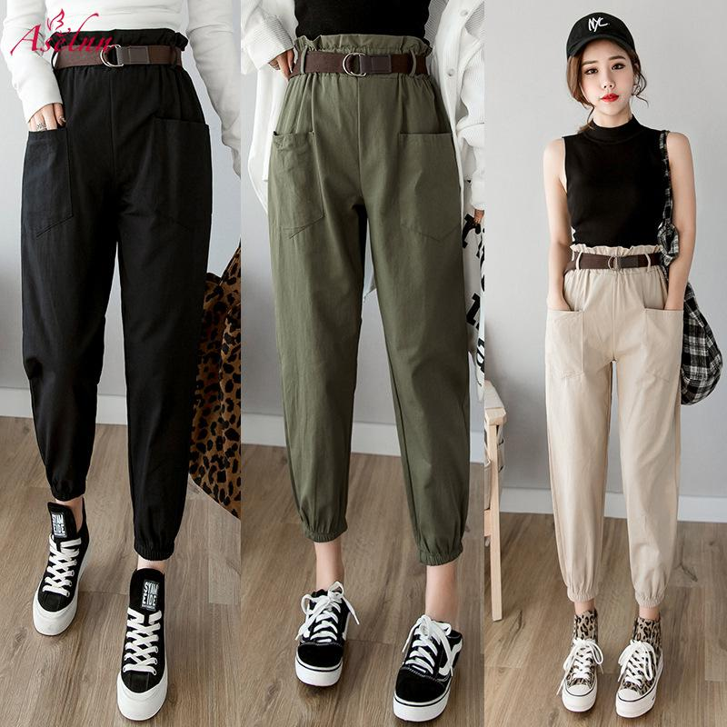 Aselnn 2019 Spring Autumn Women Cargo Pants High Waist Loose Harem Pant Trousers Casual Streetwear Korean Style (With Waistbeat)