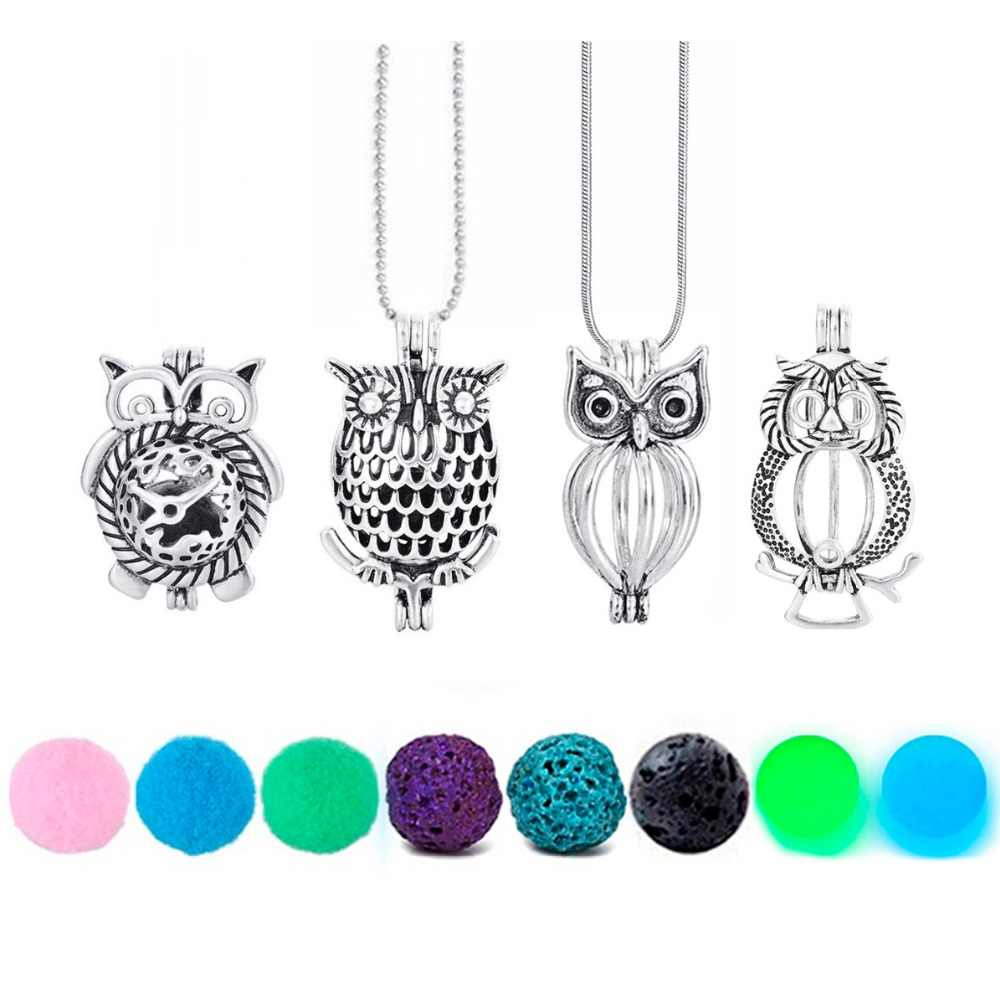 Owl Necklace Felt Glow Balls Lava Stone Aromatherapy Antique Vintage Owl Pendant Necklace Essential Oil Diffuser Locket Necklace