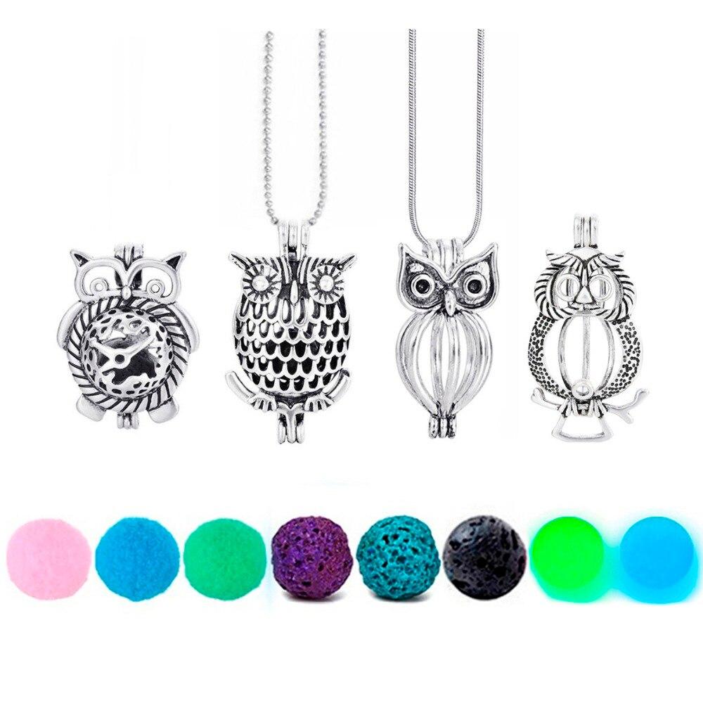 Owl Necklace Felt Glow Lava Stone