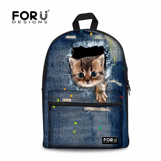 FORUDESIGNS Cute 3D Denim Cat Women Backpack For Student Backpacks ...