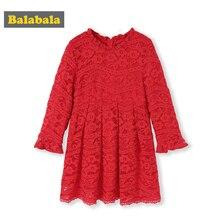 Кружевное платье с длинным рукавом для девочек, до колена