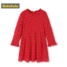 Balabala Girls Lace Dress Long Sleeve Knee Length Dress Children Kids Girls Wedding Party Dress Lined Spring Clothing