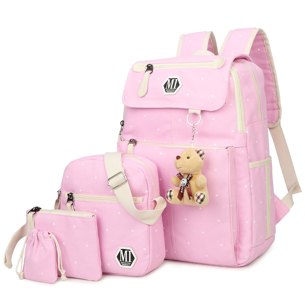 2018 Girls Canvas Backpack 4 Pcs/set Women School Backpacks Schoolbag For Teenagers Student Book Bag High Quality Boys Satchel men backpack student school bag for teenager boys large capacity trip backpacks laptop backpack for 15 inches mochila masculina