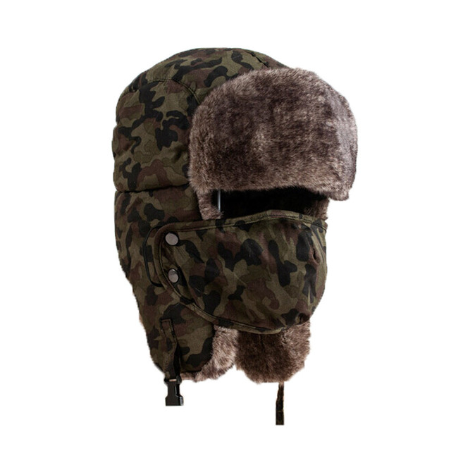 b099cb14e9b Camouflage Hat Unisex Winter Thicken Hats Wind Mask Cold-proof Rimq Outdoor  Army Women Men Military Hat Caps