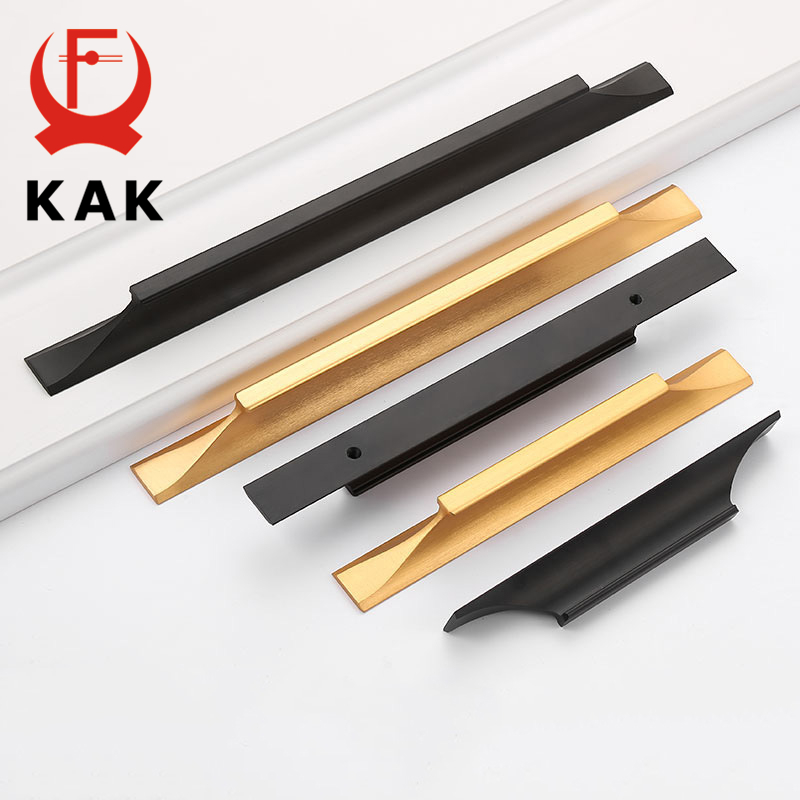KAK American Style Black Cabinet Handles Gold Solid Aluminum Alloy Kitchen Cupboard Pulls Drawer Knobs Furniture Handle Hardware