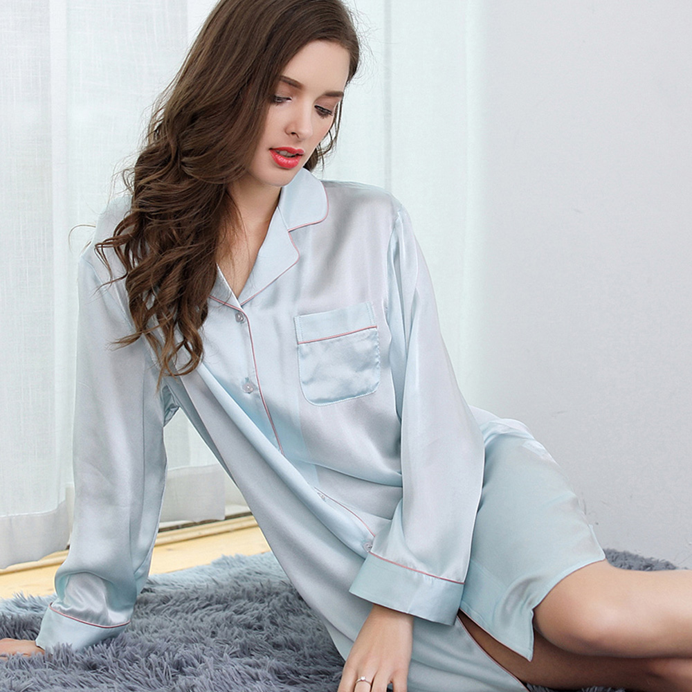woman silk sleepwear 2019 new women full sleeve min solid color sexy summer casual pure silk   nightgowns     sleepshirts   Homewears xl