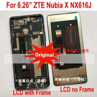 100% Tested Working Original Glass Sensor LCD Display Touch Screen Digitizer Assembly with frame Forr ZTE Nubia X NubiaX NX616J