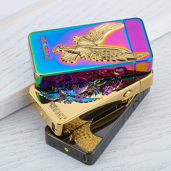 Newest usb charging electric double arc plasma lighter eletronic windproof dragon lighters for smoker cigarettes cigar gifts 2