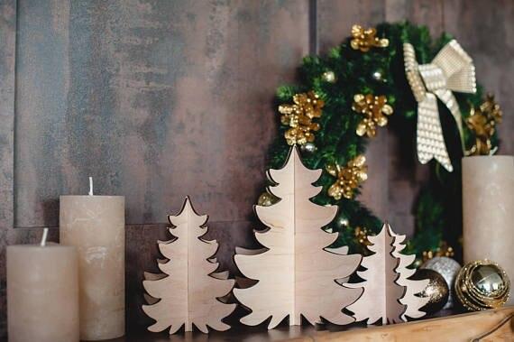 Kerst Tafel Decoratie : Hout kerstboom kerstboom van multiplex in natuurlijke kleur kerst