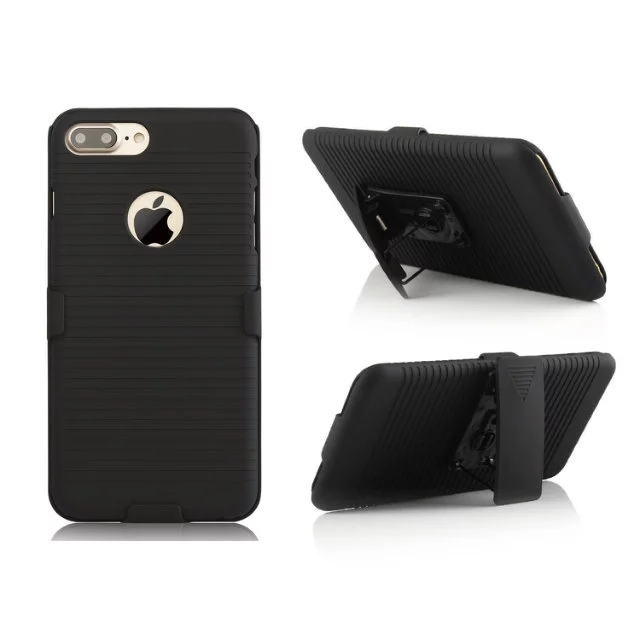 Цена за Броня Чехол для iPhone 7 7 plus 6 6 s 6pus Черный Раздвижные Kick Стенд Зажим для Ремня Крышка с Логотипом Противоударной защитной Оболочки