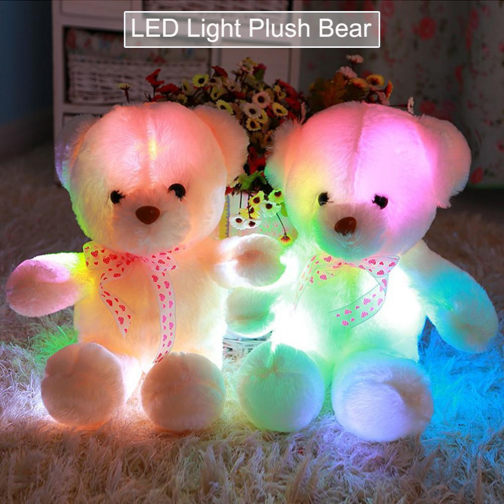 50cm Creative Light Up LED Bear Stuffed Animals Plush Toy Colorful Glowing Bear Christmas Gift for Kids glowing sneakers usb charging shoes lights up colorful led kids luminous sneakers glowing sneakers black led shoes for boys