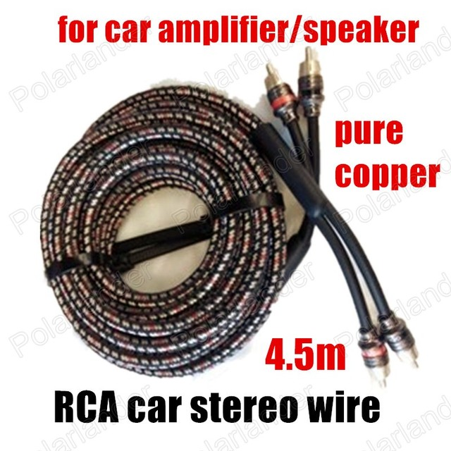 US $20 28 5% OFF Pure copper Car audio Cable stereo Cable speaker wire for  car amplifier speaker 4 5m Black multicolored RCA to RCA best selling-in