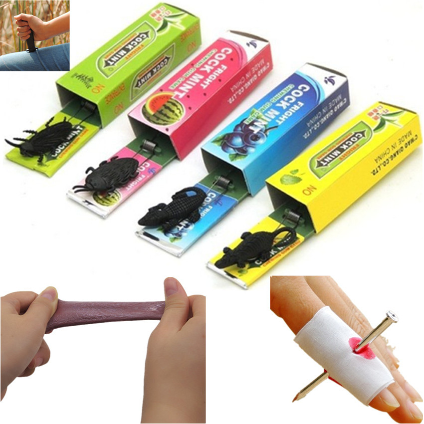 Novelty Magic Tricks Joke Toy Funny Tongue Chewing Gum Trick Dagger Knife Fake Nail Through Finger Stress Relief Toy Prank Maker