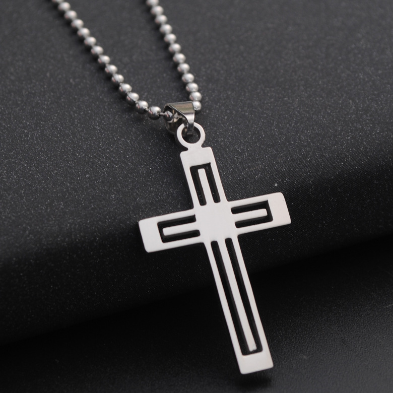 Stainless Steel Multilayer hollow Love Heart Cross Necklace Heart Religion Jesus Cross Titanium Steel Faith Cross Necklace in Pendant Necklaces from Jewelry Accessories