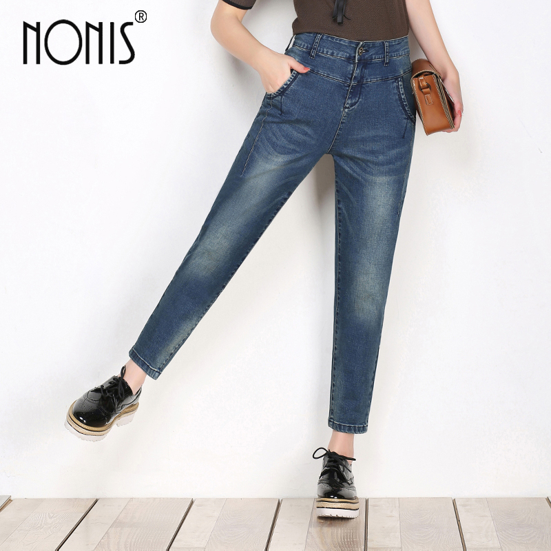 Nonis New Fashion high waist Harem jeans for women Elastic plus size female denim Pants trousers femme pantalon Three color plus size pants the spring new jeans pants suspenders ladies denim trousers elastic braces bib overalls for women dungarees