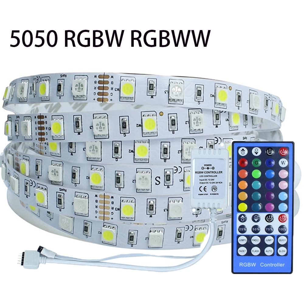 Led Strips Dc12v 5m 60leds/m 5050 Rgbw/rgbww Led Strip Light Non-waterproof 40 Rgbw Rgbww Ir Remote Controller Flexible Bar Light Long Performance Life