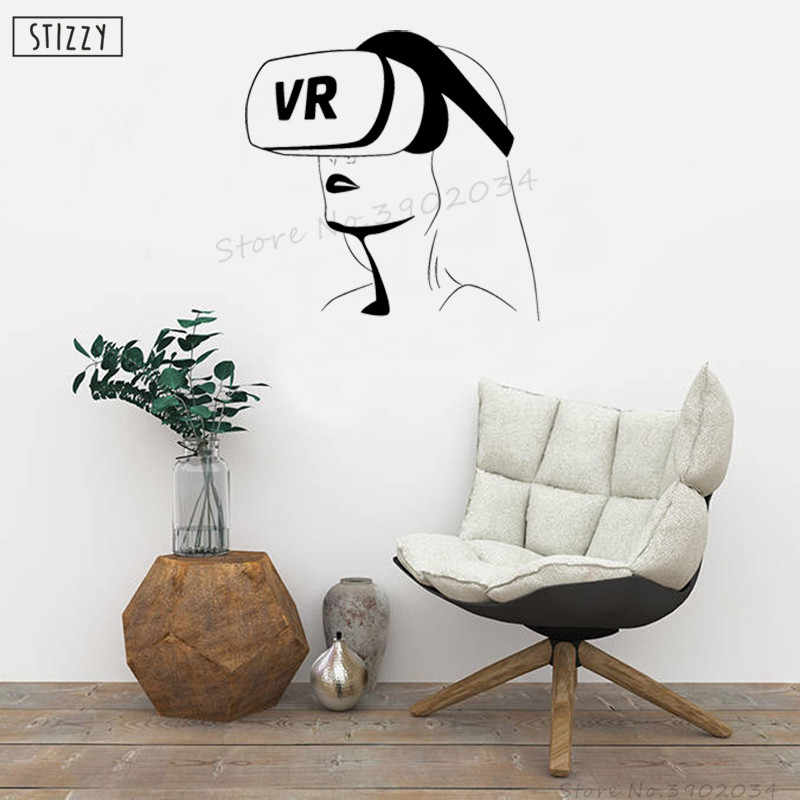 STIZZY Наклейка на стену VR гарнитура виниловые настенные художественные наклейки настенная современная женщина съемные видеоигры домашний декор диван интерьер DIY A523