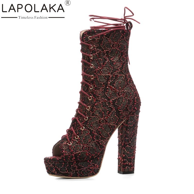 LAPOLAKA 2018 Large Size 33-43 Platform Shoeslace Sexy Super High Heels Summer Boots Shoes Woman Platform Gladiator Shoes Women hee grand gold silver high heels 2017 summer gladiator sandals sexy platform shoes woman casual shoes size 35 43 xwz4075