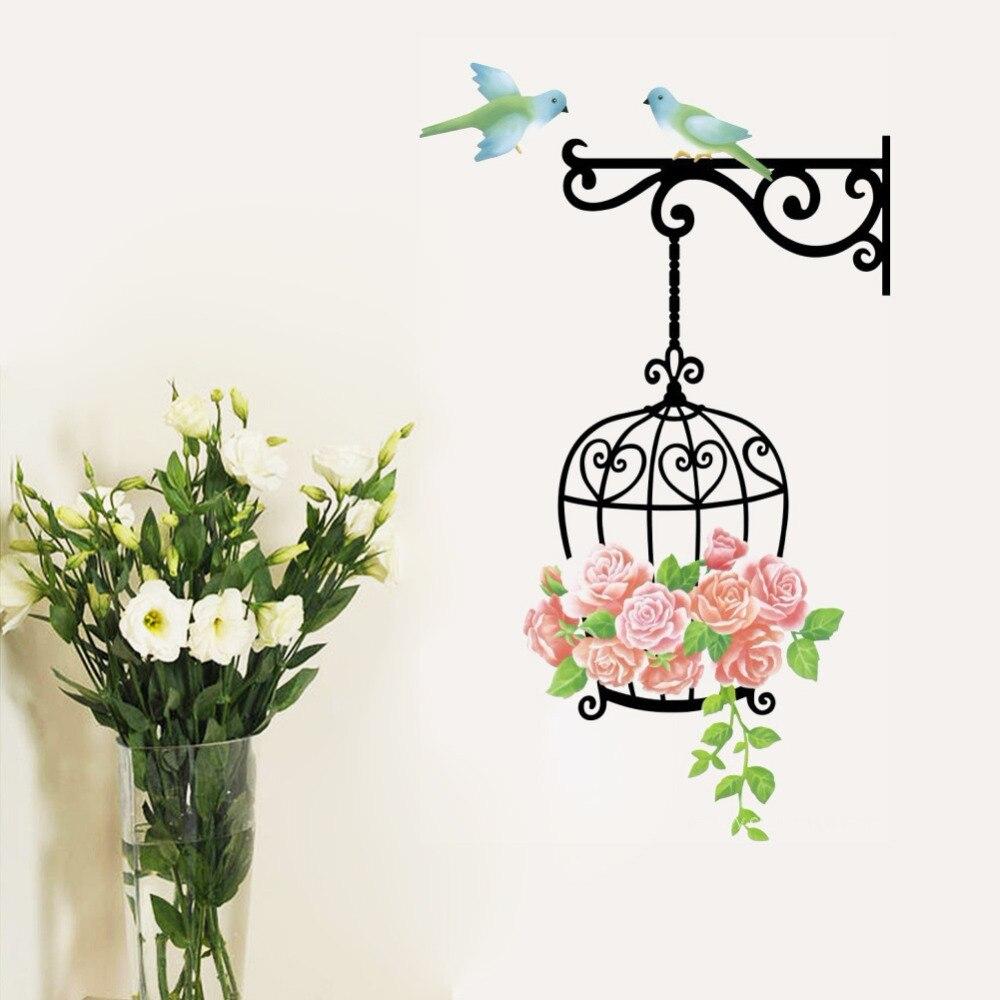 Cute Birdcage Birds Rose Flower Vines Mural Wall Stickers