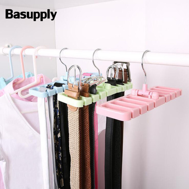 Basupply 1pc Rotating Storage Rack Belt Organizer Tie Holder Scarf Hanger Wardrobe Closet Organization Tank Tops Bra Belts Hook