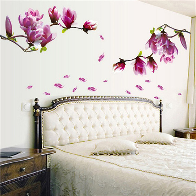 Fashion Magnolia Blossoms Sticker Wall Removable Hall Wallpaper Paste Flowers DIY Home Bedroom IC877325