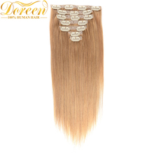 Doreen #27 Honey Blonde Clip In Human Hair Extensions 70G 7 Pecs Malaysia Remy Straight Human Hair 12-22 Inches Could be Curly