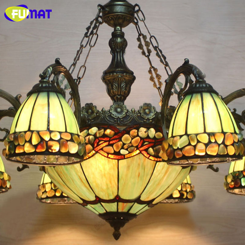 Купить с кэшбэком FUMAT Chandelier Stained Glass Green Glass Light Dining Room Lamp Living Room led Light Vintage Lustre led Chandeliers
