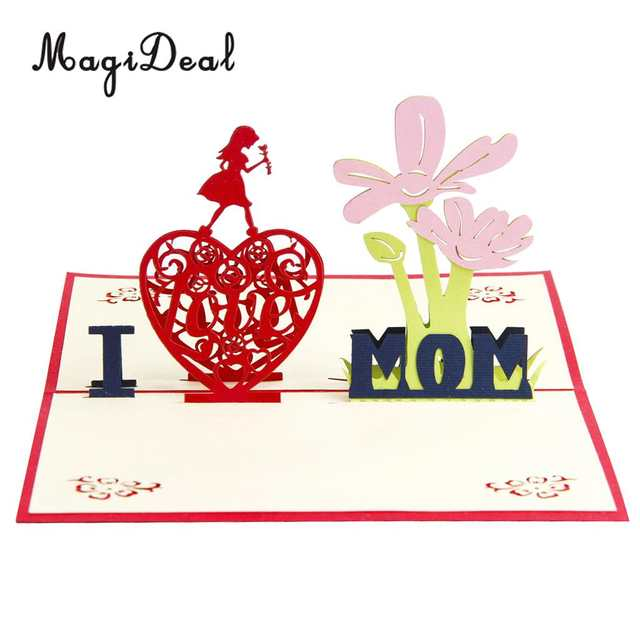 Online Shop Happy Mothers Day Birthday 3D Pop Up Card Greeting Hanging Heart Wooden Plaque Ornaments Thank You Mom Gift
