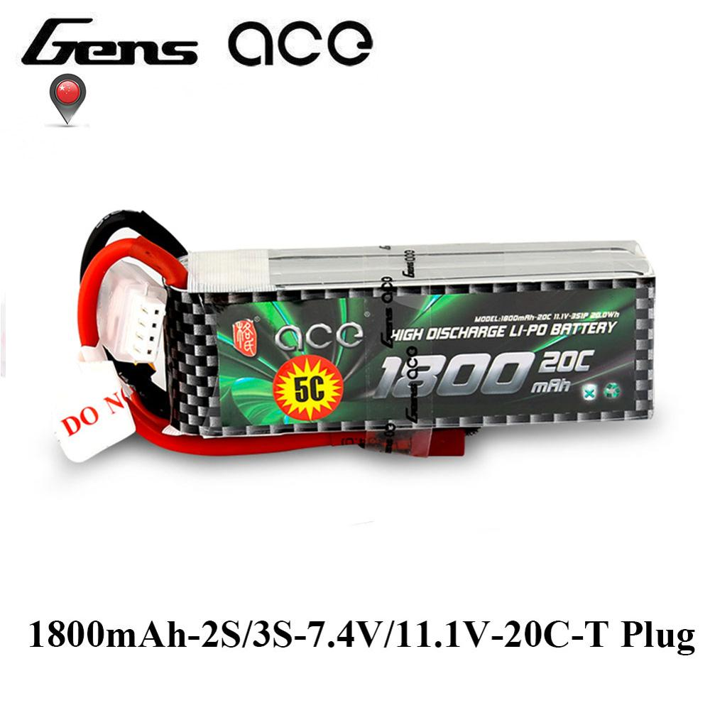 Gens ace 2S 3S Lipo Battery 1800mAh 7.4V 11.1V 20C-40C Deans Plug Battery Pack for Helicopter Small 1:16 Car E dedicated gens ace lipo battery 7 4v 11 1v 800mah lipo 2s 3s 15c rc quadcopter t connector for fixed wing 250 helicopter jst plug