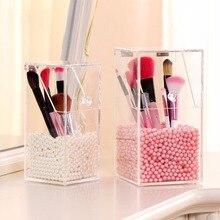 1Pcs 3 Lattice Transparent Acrylic Cosmetics Pencil Case Makeup Organizer Cosmetic Holder Tools Storage Box Brush And Accessory