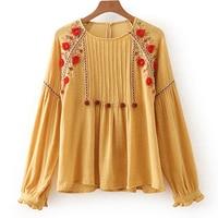 Khale Yose Linen Yellow Floral Embroidery Vintage Boho Blouse Women Vintage Maxico Shirt Long Sleeve Hippie Blouse Tops 2019