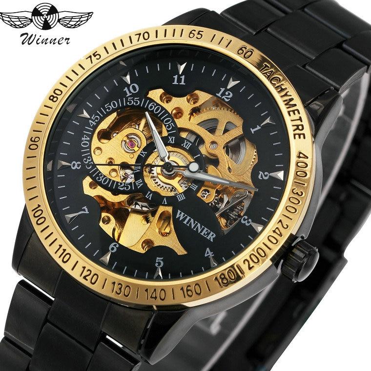 2018 győztes férfiak automatikus mechanikus óra rozsdamentes acél karóra férfi karóra arany csontváz dial felső luxus márka + BOX