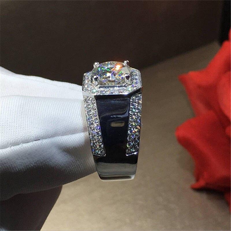 100% 18 k 750Au Gold Moissanite Diamond man Ring D kleur VVS Met nationale certificaat MO 0011-in Ringen van Sieraden & accessoires op  Groep 2