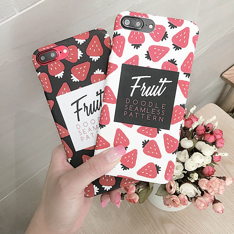 Hehan Fresh Strawberry Fruit For iPhone7plus Mobile Shell For iPhone6 Scrub Half Bag Female Hard Cover ...
