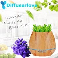 Diffuserlove 550ml Air Humidifier Wood Grain Essential Oil Aroma Diffuser Ultrasonic Humidifier Air Purifier Mist Maker for Home