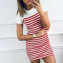 Summer Casual Women Striped Mini Dresses 2019 New Short Sleeve O-Neck Slim Dress