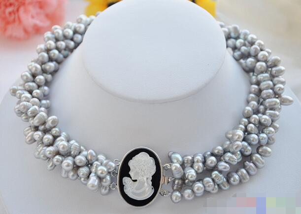 FREE SHIPPING>>>@@ > <font><b>3601</b></font> 4row gray rice pearl freshwater pearl necklace image