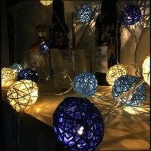 цена на New White Dark Blue Rattan Ball LED String Light 3M 20Led Warm White Fairy Light Holiday Light For Party Xmas Wedding Decoration