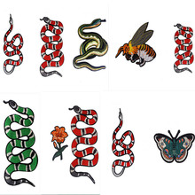 Red Green Snake Embroidered Patches Flower Bee Butterfly Tiger Head Applique Iron Sew On Clothes Bag Large Patch Accessory butterfly embroidered applique tee