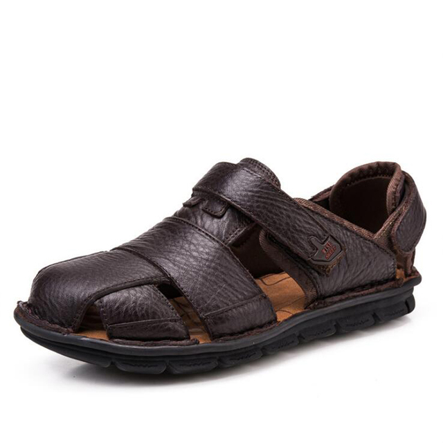 543ec27a1f91 Men sandals 2018 Retro summer shoes genuine leather sandals men beach shoes  high quality Cow Leather sandals for men