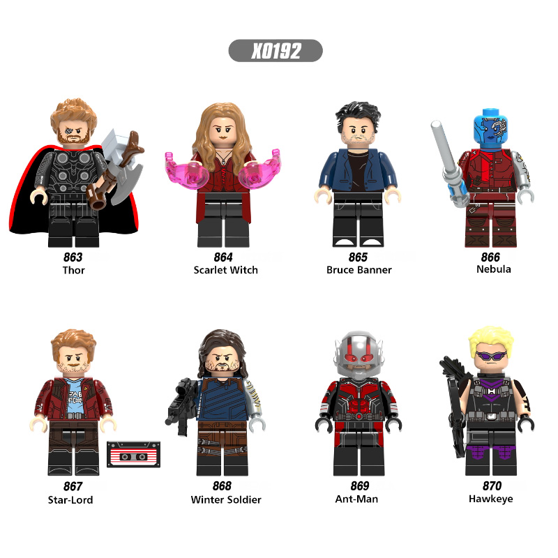 Single Sale Super Heroes Infinity War Thor Ant-Man Winter Soldier Bruce Banner Scarlet Witch Building Blocks Children Toys X0192