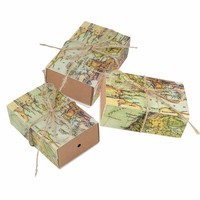 50pcs Vintage Wedding World Map Candy Box Kraft Paper Gift Bag For Wedding Favors And Gifts