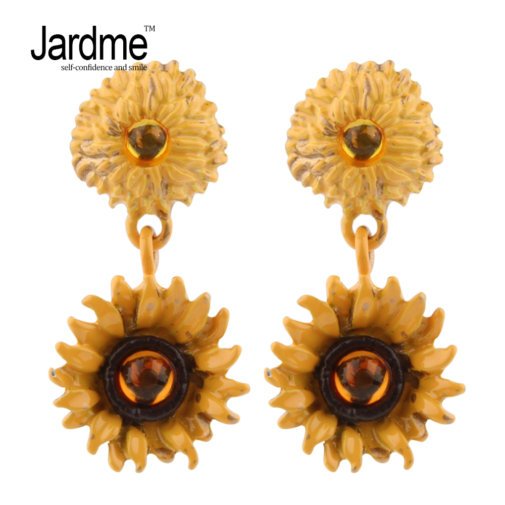 Jardme Vintage Beautiful Sunflower Earrings Resin gem Orginal Design Bijou Wedding Party Gift Jewelry Wholesale Dropshipping