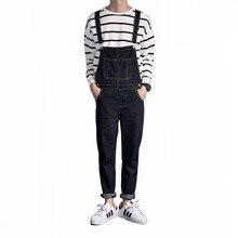 c72439d55 De los hombres de la moda Denim babero pantalones primavera pareja mono  jumpsuits una pieza jeans