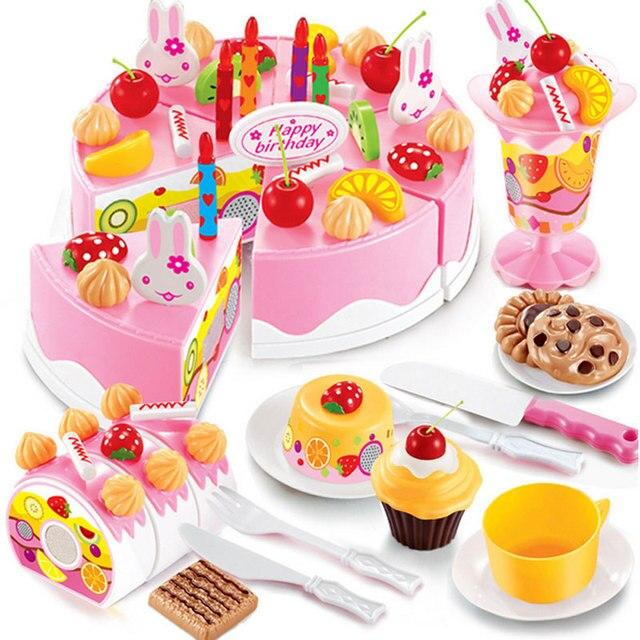 75pcs Pretend Play Kids Kitchen Toys Birthday Cake Cut Plastic Food